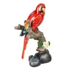 Dekofigur Papagai auf einem Baumstamm rot 12x22 cm