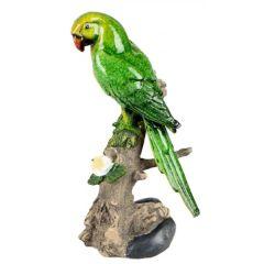 Dekofigur Papagai auf einem Baumstamm grün 12x22 cm