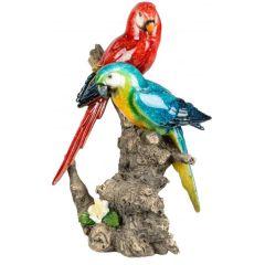 Dekofigur Papagaienpaar auf einem Baumstamm rot blau 12x25 cm