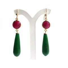 Damen Ohrringe Vergoldet Rubin Jade Rot Grün PARTY DROPS 5 cm