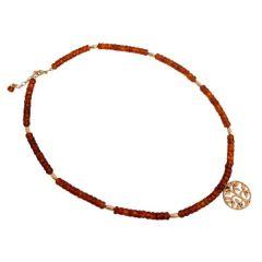 Halskette Anhänger Bernstein 925 Silber Vergoldet Lebensbaum Braun