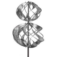 Windrad aus Metall Blume mit Stange antik silber 18/92 cm