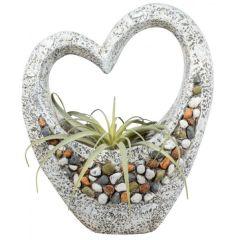 Pflanzgefäß Deko Herz Stones antikfarben mit Steinen 36 x 47 cm