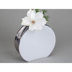 Edle Vase in Edelweiß rund mit silberner Reaktionsglasur, 22 cm