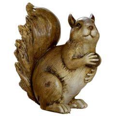 Eichhörnchen-Deko Figur mit Eichel-Futter braun 13,5 x 12 x 13 cm groß