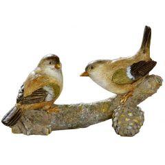 Deko Figur Vogel Paar auf Ast sitzend grün braun beige 16,5 x 11 cm