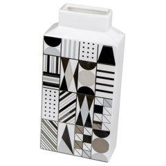 Keramik-Vase schwarz weiß gemustert Retro-Look 14 x 29 cm