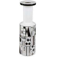 Keramik-Vase schwarz weiß gemustert Blumenvase Retro 12 x 39 cm
