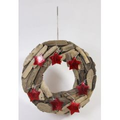 Dekohänger aus Treibholz in Weihnachtskranzform, Sterne rot, 30 cm