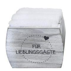 4 Gästehandtücher in Box Für Lieblingsgäste 100% Baumwolle grau weiß