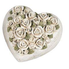 moderne Gartendeko Herz Deko-Herz mit Rosen Beton-Herz Garten-Skulptur Gartenfigur Valentinstag Grab-Deko anti