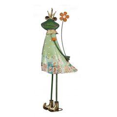 Gartenfigur Frosch Garten-Skulptur Gartendeko Teichfigur XXL Metallfrosch Froschskulptur Vintage Frosch-Frau g