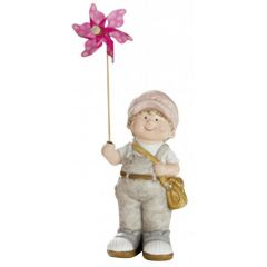 Deko-Figur-Kind Junge mit rosa Windrad stehend grau rosa 10 x 14 x 31 cm