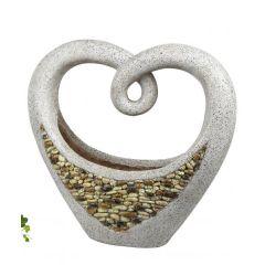 Garten-Skulptur Herz zum Bepflanzen Stein-Farbe Granit-Optik 36 cm