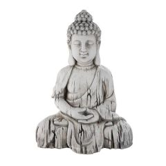 Thai Buddha Deko-Figur-Gartenskulptur Statue grau 17 x 24 x 34 cm