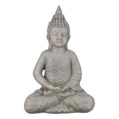 Thai Buddha Deko-Figur-Gartenskulptur Buddhistische Figur grau 18 x 30 x 44 cm