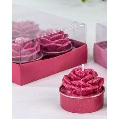 formano Teelichter in Rosenform Himbeere marmoriert