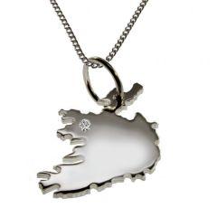 IRLAND Anhaenger aus Silber mit Brillant am Wunschort mit Halskette