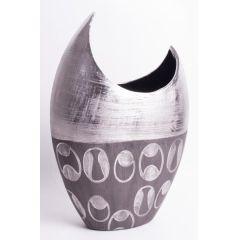 Design Vase Flunder in zwei verschiedenen antiken Silberfarben, 36 cm