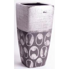 Design Vase Rechteckig in zwei antiken Silberfarben, 30 cm