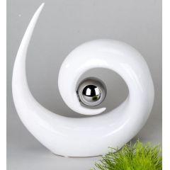 Skulptur in Weiß mit silberner Kugel, 26 x 7 x 27 cm