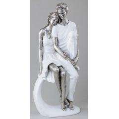 formano Deko-Objekt Paar in Weiß und Silber, sitzend, 36 cm