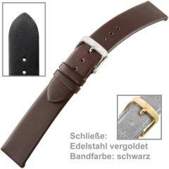 Uhrenarmband Men 22 mm schwarz aus Kalbsleder
