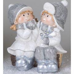 formano Winterkinder auf einer Holzbank winterweiß, 30 cm