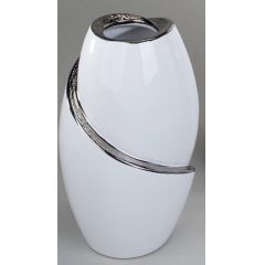 formano Vase in Edelweiß mit silberner Reaktionsglasur, 21 cm