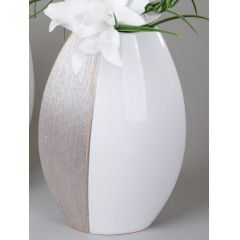 formano Blumenvase champagner creme aus Keramik, 35 cm