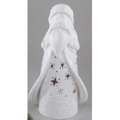 Windlicht Weihnachtsmann in Weiß mit Durchbrüchen aus Porzellan 28 cm