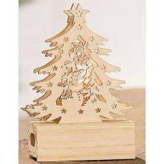 Weihnachtsbaum aus Kiefernholz inkl. LED Beleuchtung, 14 cm