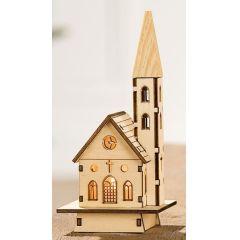Deko-Haus Kirche aus Kiefernholz inkl. LED Beleuchtung, 16 cm