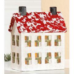 Beleuchtetes Haus mit LED Lämpchen aus Keramik, 5 x 16 cm