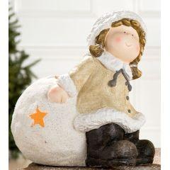 GILDE Winterkind Mädchen mit Windlicht, 35 cm