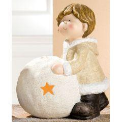 GILDE Winterkind Junge mit Windlicht, 35 cm