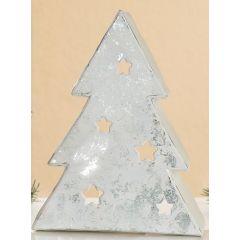 Teelichthalter Tannenbaum aus Metall, creme weiß silber grau, 19 cm