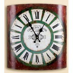 GILDE rustikale Wanduhr Cafe de la Tour, rot, 31,5 x 35 cm