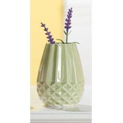 GILDE Moderne Keramikvase grün glasiert, länglich, 11 cm