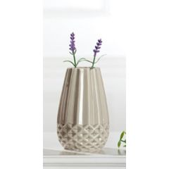 GILDE trendig moderne Keramikvase grau glasiert, 7,5 x 14,5 cm