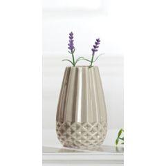 GILDE moderne Keramik-Vase grau glasiert, 7,5 x 14,5 cm