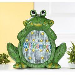 GILDE Solar-Frosch aus Magnesia mit 12 LED Lämpchen, 30 cm