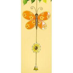 GILDE Deko-Hänger Schmetterling aus Glas und Metall, orange, 67 cm