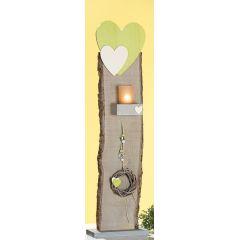 GILDE Deko-Ständer als Windlicht mit Herz, Dekoband und Kranz, 77,5 cm
