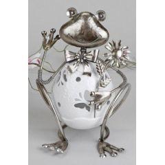 formano Windlicht lustiger Frosch mit Wackelkopf, weiß silber, 23 cm