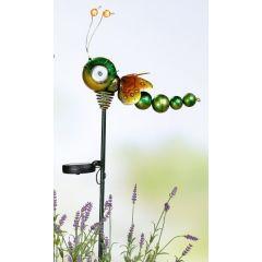 GILDE bunte Solar-Libelle aus Metall mit Gartenstab, 80,2 cm