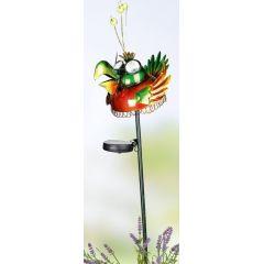 GILDE bunter Solar Vogel aus Metall auf Gartenstab, 80 cm