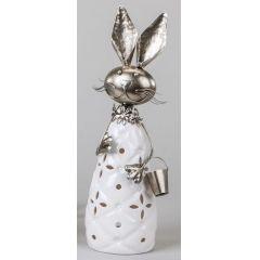 formano Windlicht lustiger Hase mit Wackelkopf, weiß silber, 33 cm