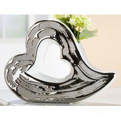 GILDE Keramik Vase Herz mit silberner Reaktionsglasur außen, 27 cm