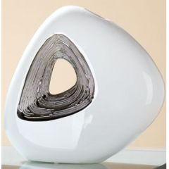 Vase mit Loch und silberner Glasur in Weiß, 6,5 x 24 x 23 cm